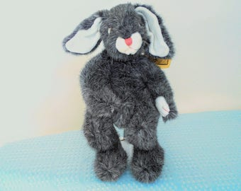 "Special Vintage Ty Classic Blossom The Floppy Eared Smokey Grey Bunny Designed By Sally Winey/Laying Down Bunny 15"" Long/New With Tags/Gift!"
