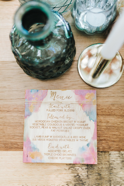 Bohemian hand painted wedding menu