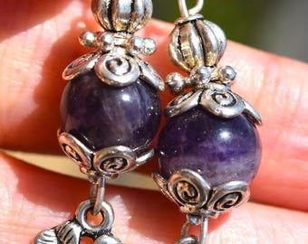 Amethyst clover sterling silver hooks earrings