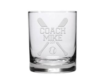 Softball Coach Whisky Glass / 12.5 oz Personalized Glass / Engraved Whisky Glass / Personalized Glass / Personalized Softball Coach Gift