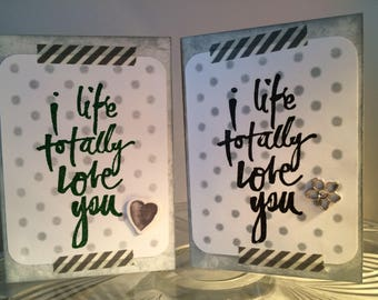 I Like Totally Love You Handmade Card, Notecard, with Distress Ink, Embossing, Variations, Gems, Hearts, Washi, Grey, Gray, Black, Green