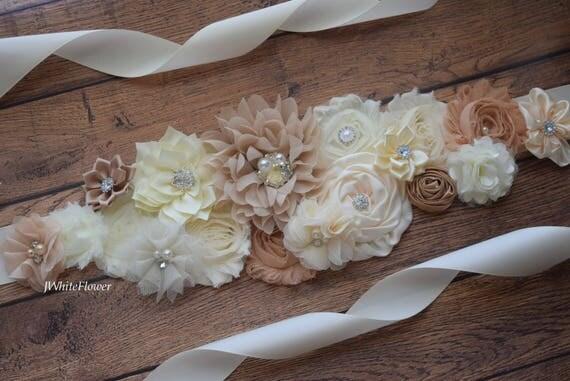 Sash, Neutral long sash,natural color Sash, flower Belt, maternity sash, flower girl sash