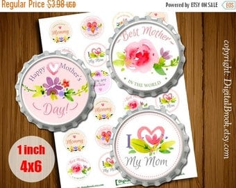 SALE 50% Happy Mother's Day Digital Collage Sheet 1inch 25mm Printable Download for pendants magnets bottle Cabochons - 182