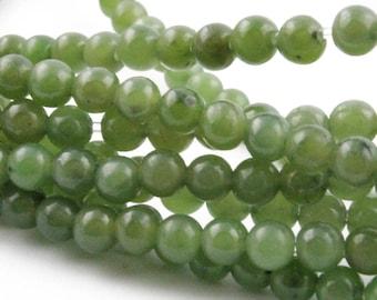 Canadian Nephrite Jade Unstrung Beads, 4mm