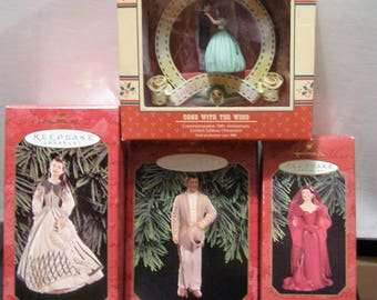 Hallmark Christmas Ornaments - Gone with the Wind + Enesco 50th Anniversary Ornament - in boxes