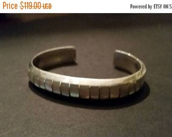SALE Native American Cuff Elkus Gasper Sterling Silver Zuni Bracelet Mother of Pearl 19 grams