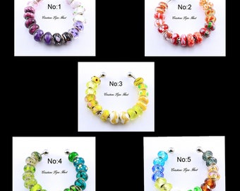 Set of 16 Glass Beads for your charms bracelets - 5 different sets available to choose from