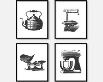 "Kitchen Decor Pictures, Vintage Sketchbook Design, Tea Pot Kettle, Scales, Mixer, 8x10"" & 5x7"" includ., DIGITAL PRINTABLE FILE. Vintage Art."