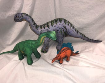 Vintage lot of 3 Dinosaur Plush Toys 1992 Determined Productions 1991 GAF