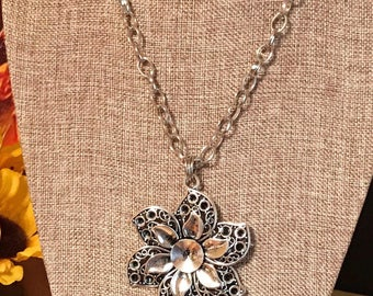 Boho Flower Necklace, Large Silver Flower Pendant, Boho Jewlery, Customized Jewelry, Bursting Barns Designs