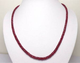 925 Sterling Silver Ruby Gemstone Beads Necklace