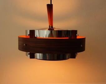 Mid century modern metal chrome plated pendant hanging light lamp palissander rosewood wood look Dutch design modern