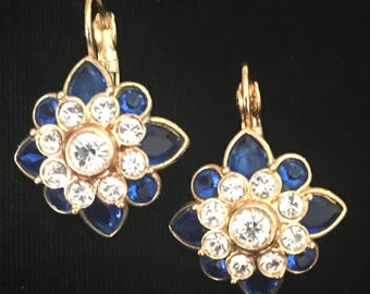 Joan Rivers Sapphire Rhinestone Earrings