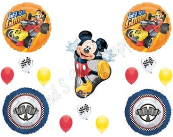 MICKEY MOUSE ROADSTER Happy Birthday Party Balloons Decoration Supplies Car