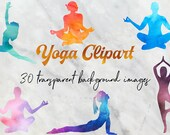 Watercolor Yoga Clipart, Yoga Clipart, Watercolor Yoga Poses, 30 PNG Watercolor Images, Watercolor Clipart, BUY5FOR8