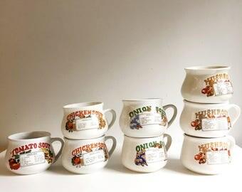 Mid Century Retro Recipe Soup Mugs/Bowls