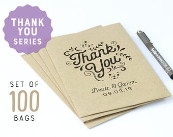 Thank you favors 100 brown flat paper bags, personalized wedding party favor bags, personalized favor bags, kraft paper bags, party favors