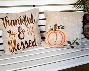 Fall Pillow, Fall Decor, Pumpkin Pillow, Thankful & Blessed, Thanksgiving Decor, Halloween Decor,Decorative pillow, seasonal decor