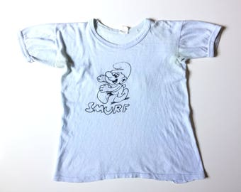 70s SMURF THREADBARE BABY Blue Vintage T-Shirt / Size xS-Small
