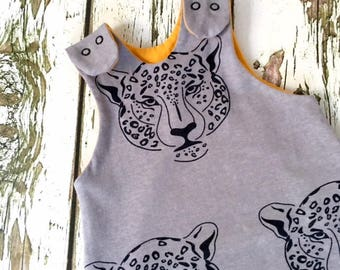 NEW Leopard baby romper, baby dungarees, toddler romper, toddler dungarees, baby clothes, organic clothes, dungarees, leopards