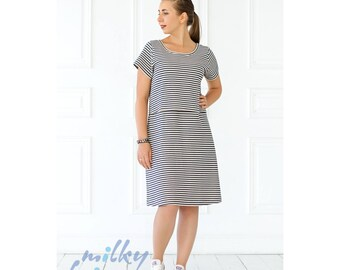 Dress for breastfeeding mom Nursing double-leyered jersey dress Linen jersey dress Easy breastfeeding Gift for new mom