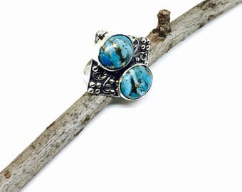 Turquoise ring set in sterling silver 92.5. Blue mojave turquoise. Natural authentic stone. Size-8