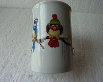"""Mug en porcelaine """"quatre oiseaux sur la branche"""""""
