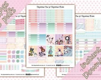 Sentimental Circus Pastel Rainbow Printable Planner Sticker Kit