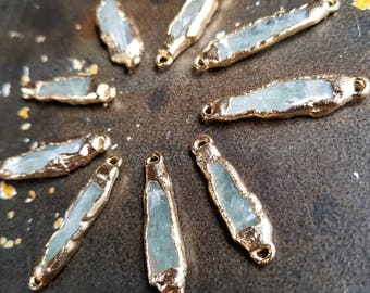 5pcs Green Kyanite connectors with Electroplated 22k Gold #5605