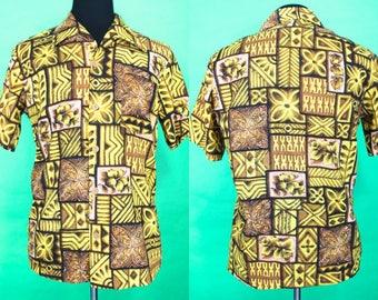 Hawaiian Shirt.....80's Dolphin Brand Yellow Tapa Print Hawaiian Shirt Luau Shirt Tiki Shirt Size Medium