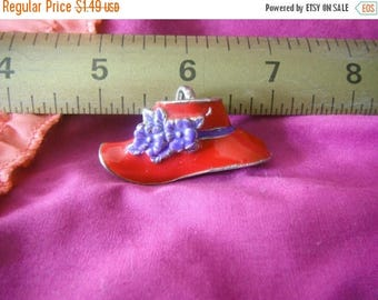 CLEARANCE Enamel Red Hat Society Pin/Brooch/Pendant,Multi Purpose