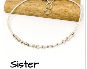 Sister - Morse code bracelet - Sterling silver and leather bracelet - hidden message bracelet