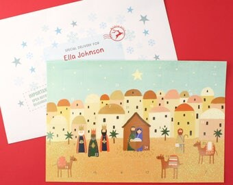 Personalised Bethlehem Advent Calendar And Envelope