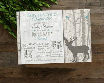 deer baby shower invitation, Aqua Teal baby shower Invitation, Birch Trees, digital file, Baby it's Cold Outside, Winter Shower Invite