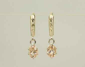 Natural Morganite in Sterling Silver Diamond Cut Lever-Back Dangle Earrings