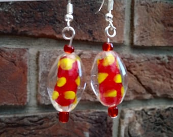 Glass lampwork red and yellow bead earrings