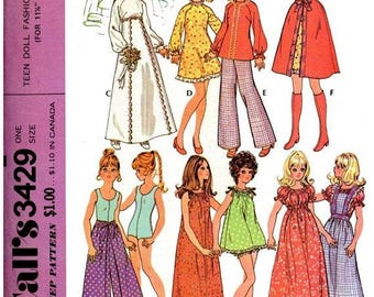McCall's 3429 Vintage 1972 Teen Fashion Doll Trousseau Pattern