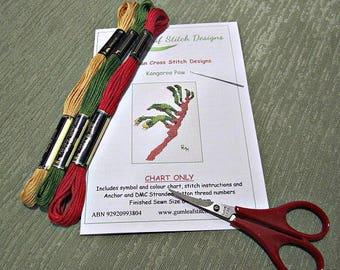 Australian flora cross stitch chart - Kangaroo Paw.  PDF instant download