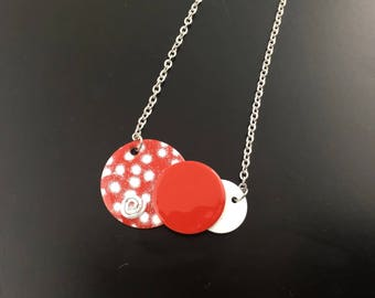 Necklace Choker - Eclipse - polka dot, red, white