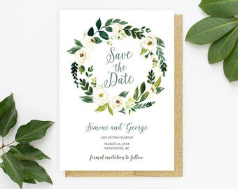 Save the Date Invitation, Floral Save the Date Card, Save the Date Printable, Greenery Save the Date, Boho Save the Date Card