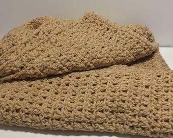 Buff Chunky Crochet Afghan Blanket