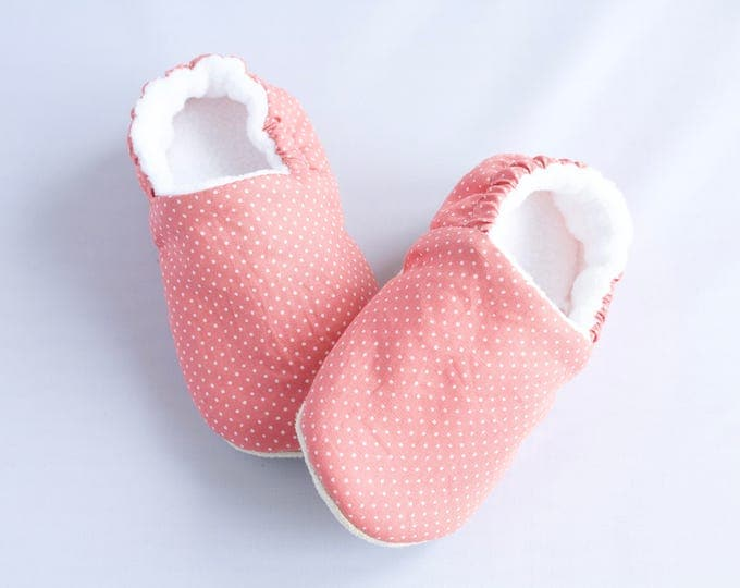 Soft sole baby slip on shoe, pink with white pin dots, pre walkers, first shoes, baby girl