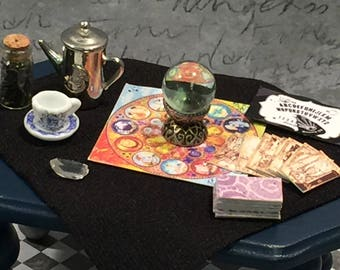 Miniature Gypsy Fortune Teller's Table, Trunk and Accessories (1:12)