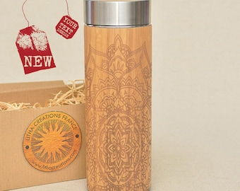 Customized Thermos Engraved Bamboo Wood STAR MANDALA Stainless Steel with Screw Lid