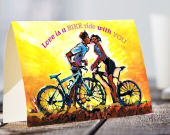 A5 cycling card | Love is a BIKE RIDE with you!