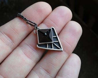 Black onyx pyramid necklace
