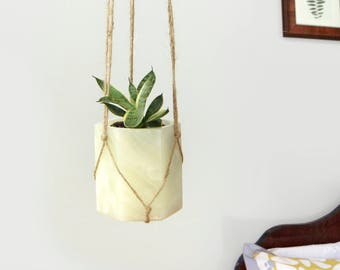 Vintage Geometric Natural Stone Hanging Planter | Beige Jute Macrame Hanger and Hexagonal Marble Plant Pot | Modern & Rustic Home Decor