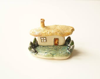 Miniature House, Housewarming Cake Topper, Ceramic House, Little House Sculpture, Ceramic Cake Topper by Her Moments