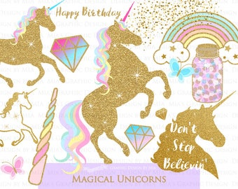 Magical Unicorns, Gold Glitter Unicorns, Einhorn, Unicorn Digital, Unicorn Clip Art - Instant Download - CA126