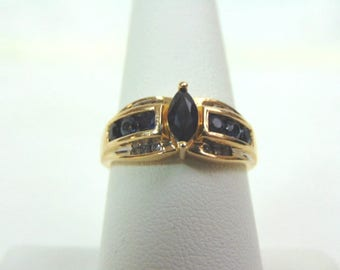Womens Vintage Estate 14K Yellow Gold Ring w/ Blue Sapphires & Diamonds  3.8g #E3229